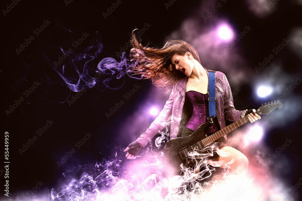 Fototapety, obrazy: Rock passionate girl with black wings