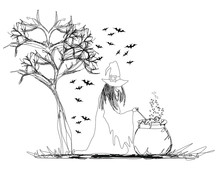 Witch Stirring A Potion In Cau...