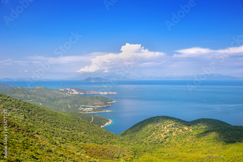 Papiers peints Alpes Greece ithaki island, panoramic view of the sea by the main harb