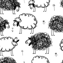 Black And White Sheeps On Mead...