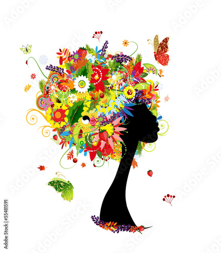 Recess Fitting Floral woman Woman head design, four seasons hairstyle with leaf and flowers