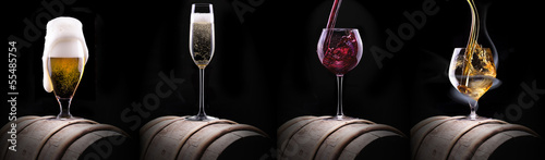 alcohol drinks set isolated on a black Canvas Print