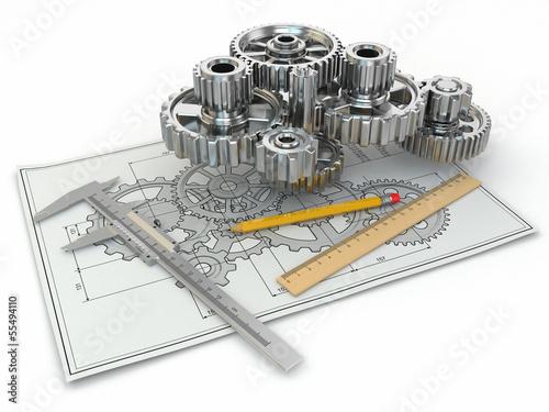 Fotografie, Obraz  Engineering drawing. Gear, trammel, pencil and draft.