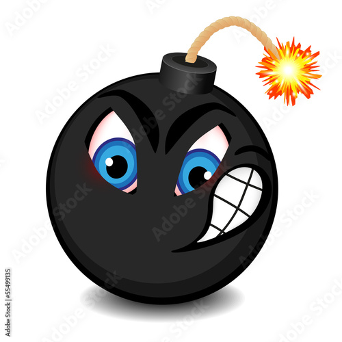 Photo  Black bomb with a funny face about to explode