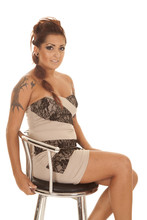 Woman Tattoos Sit Dress Barstool