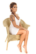 Woman Tattoos Sit Wicker Chair Side Legs