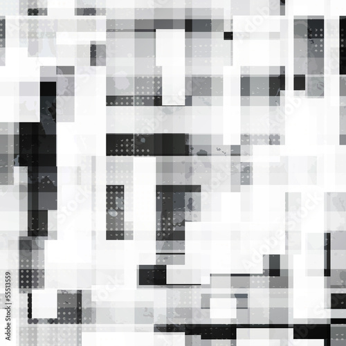 monochrome squares seamless pattern with grunge effect