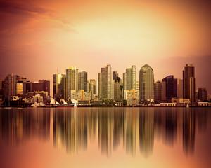 fototapeta kolorowe San Diego w Kalifornii  o zachodzie słońca