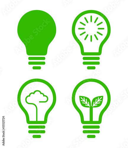 Photo lightbulb  icon - green concept