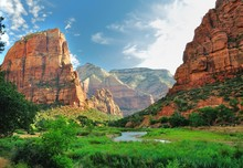 Zion Canyon, With The Virgin R...