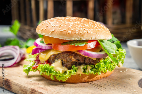 Fototapety, obrazy: Homemade burger made from fresh vegetables and beef
