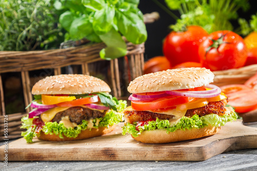 Fototapety, obrazy: Two homemade burgers made from fresh vegetables