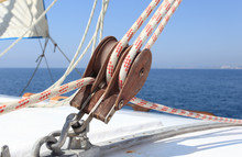 Sailboat Winch On A White Yacht