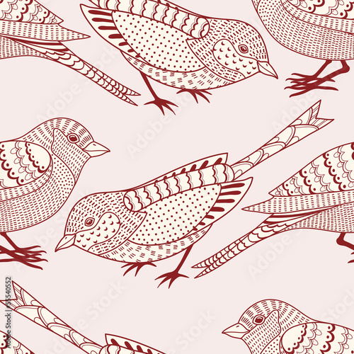 Aufkleber - Seamless pattern with birds
