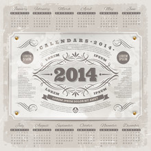 Ornate Vintage Calendar Of 201...