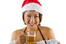 Sexy Female Bartender Dressed As Santa's Helper Elf