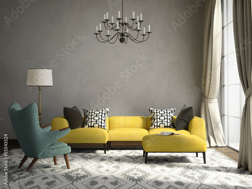 Fotografía  Romantic elegant living room with armchair