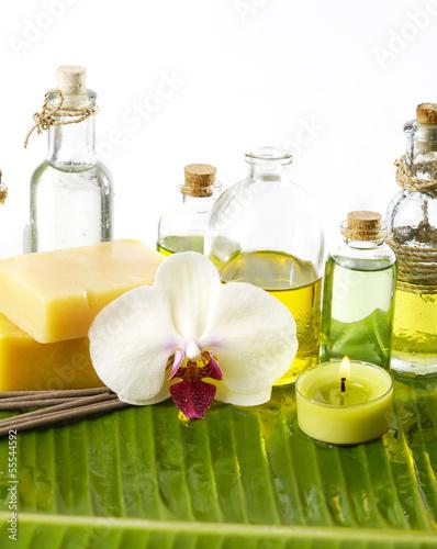 Poster Spa Banana leaf background- Health spa
