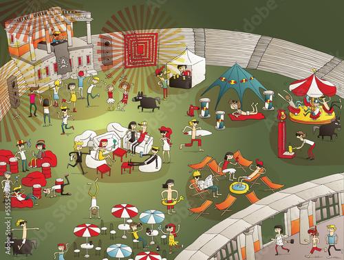 Summer Party Cartoon