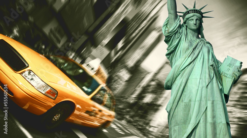 Keuken foto achterwand New York New York City Taxi, Blur focus motion, Times Square