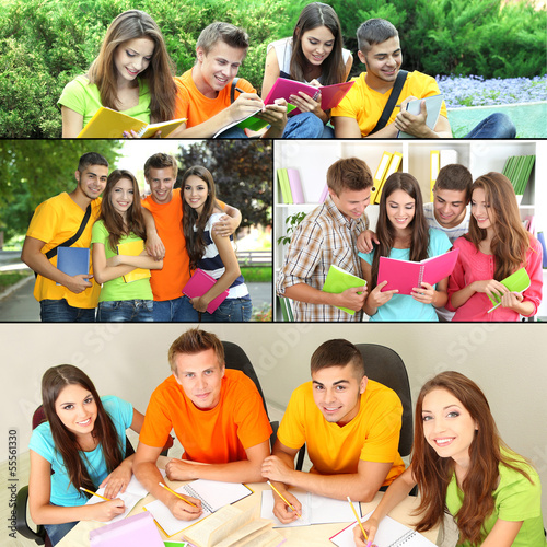 Collage of students people- education concept