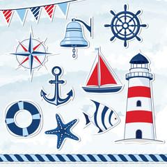 Obraz na płótnie Canvas Nautical design elements