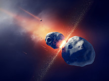 Asteroids Collide And Explode  In Space