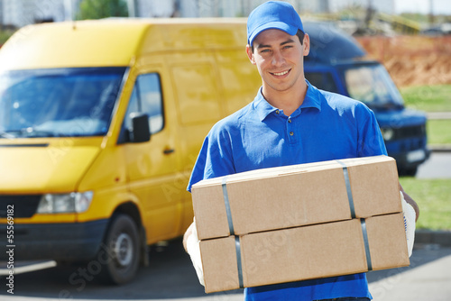 Fotografie, Obraz  Delivery man with parcel box