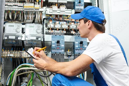 Fotografie, Obraz  electrician worker inspecting