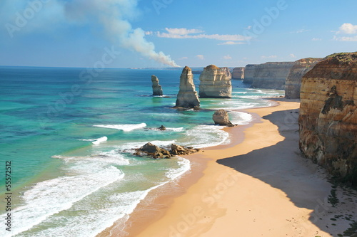 Foto op Canvas Australië The Twelve Apostles, Australia, and a bushfire
