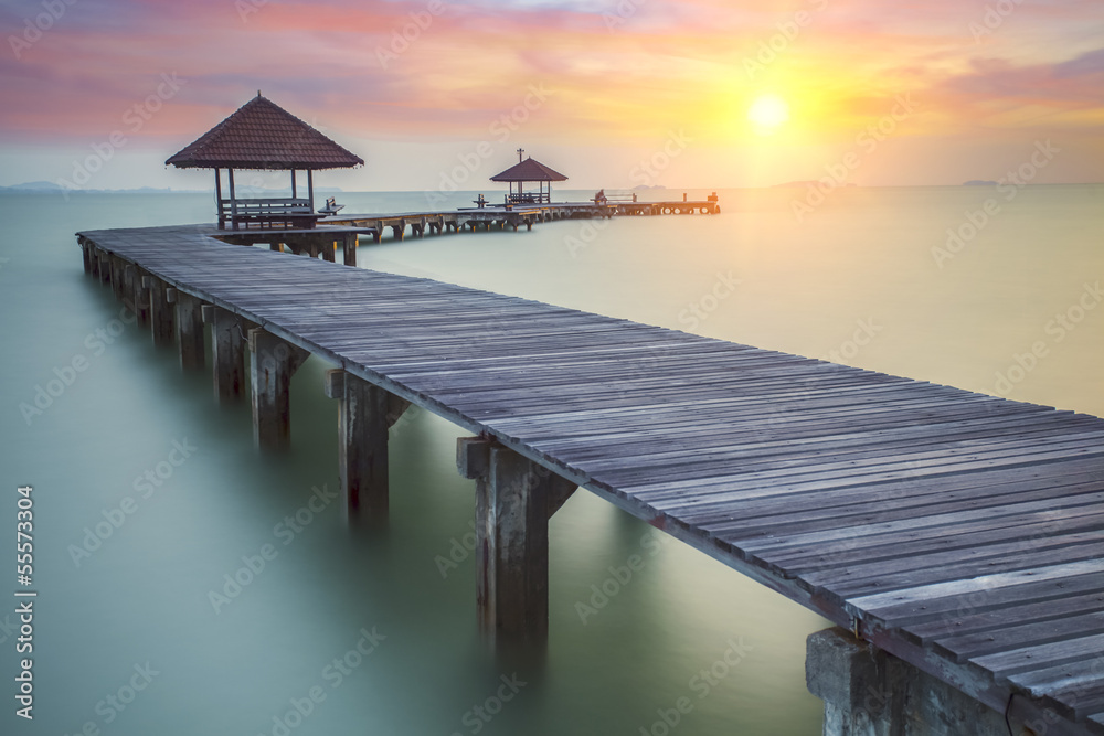 Fototapeta Wooded bridge