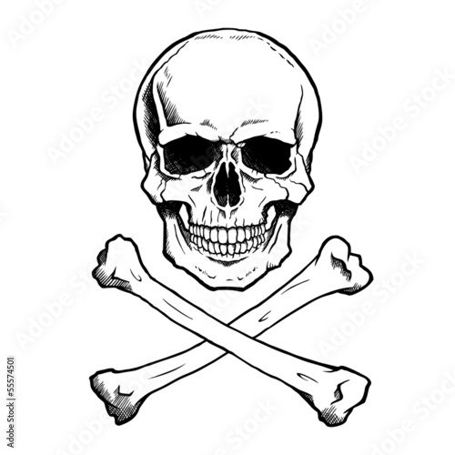 Photo  Black and white human skull and crossbones.