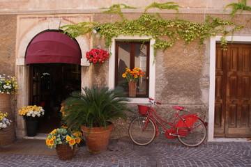 Fototapeta na wymiar Bottega di fiorista con bicicletta rossa