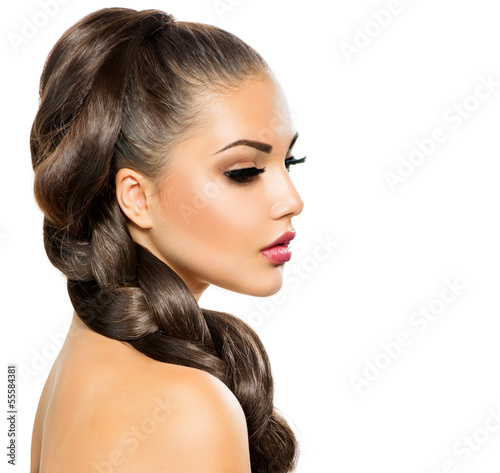 Hair Braid. Beautiful Woman with Healthy Long Hair - 55584381
