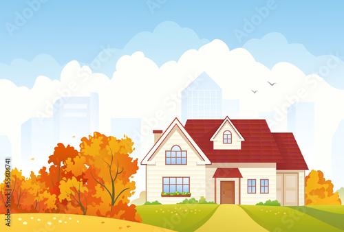 Photo  Autumn cottage