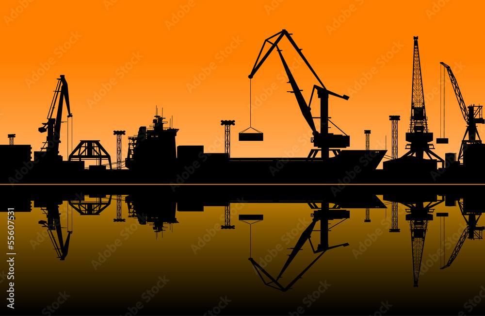 Fototapeta Working cranes in sea port