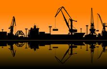 Working Cranes In Sea Port
