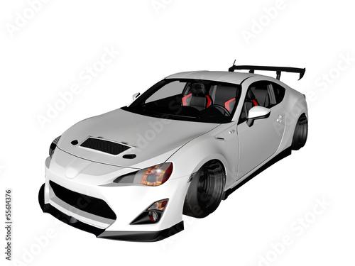 Fotografie, Obraz  voiture de sport blanche 3D sur fond blanc