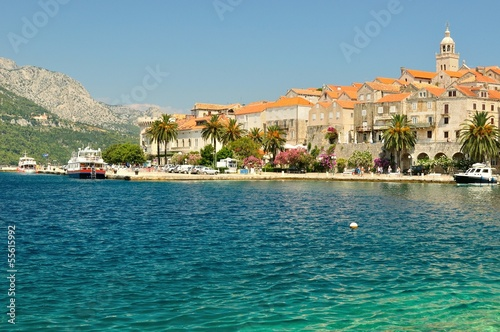 Fotografie, Obraz  Picturesque view of the old town with port of Korcula, Croatia