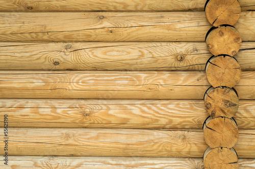 Texture, a wall made of wooden logs Wallpaper Mural
