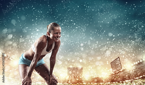 Foto-Schmutzfangmatte - Sport young woman (von Sergey Nivens)