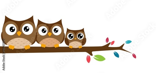 Canvas Prints Owls cartoon owls Family sat on a tree branch