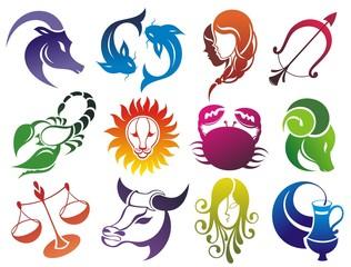 Fototapeta Znaki Zodiaku Set of Zodiac symbols. Isolated on white