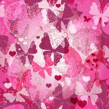 Seamless Valentine Pattern With Butterflies