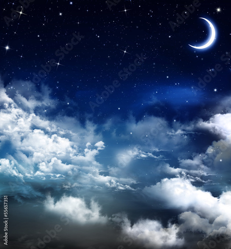Fototapeta niebo nocne-niebo-z-ksiezycem