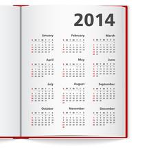 2014 Calendar In Notebook