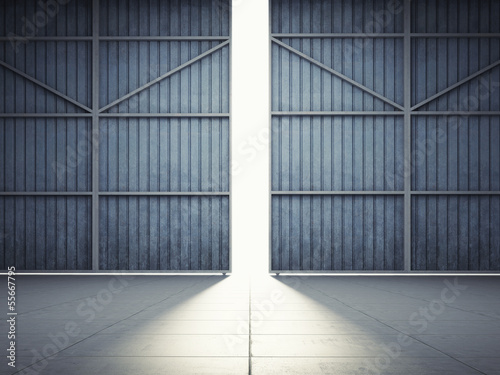Fototapeta Light from hangar doors obraz