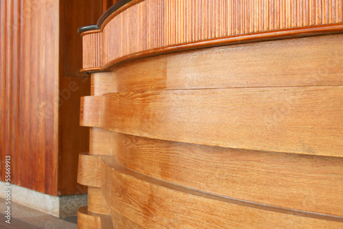 Photo Stands Stairs wooden wall and curved counter