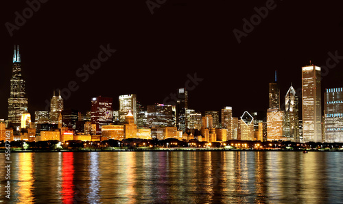 Papiers peints Chicago Chicago skyline at night