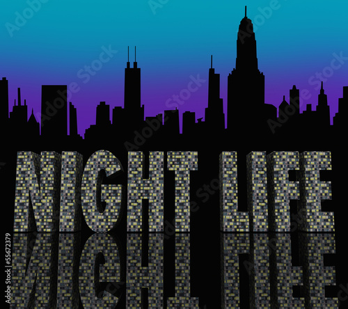 Night Life Words Building City Skyline Canvas Print